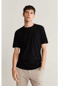 Czarny t-shirt Mango Man z okrągłym kołnierzem