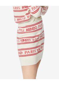 Kenzo - KENZO - Spódnica w paski z logo. Kolor: czerwony. Materiał: materiał. Wzór: paski