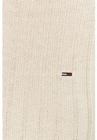 Biały sweter Tommy Jeans z długim rękawem, długi, casualowy, na co dzień