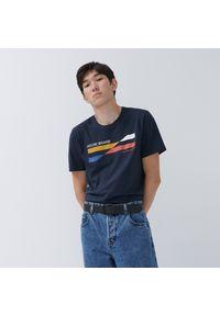 House - Koszulka z bawełny organicznej - Granatowy. Kolor: niebieski. Materiał: bawełna