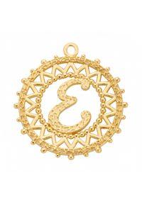 MOKOBELLE - Naszyjnik łańcuch z literką 60 cm. Materiał: srebrne, pozłacane. Kolor: złoty. Wzór: ażurowy, aplikacja #6