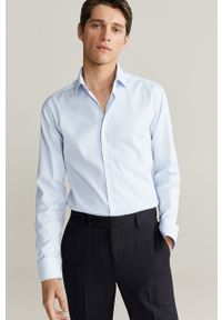 Mango Man - Koszula Emporda. Typ kołnierza: kołnierzyk włoski. Kolor: niebieski. Materiał: tkanina