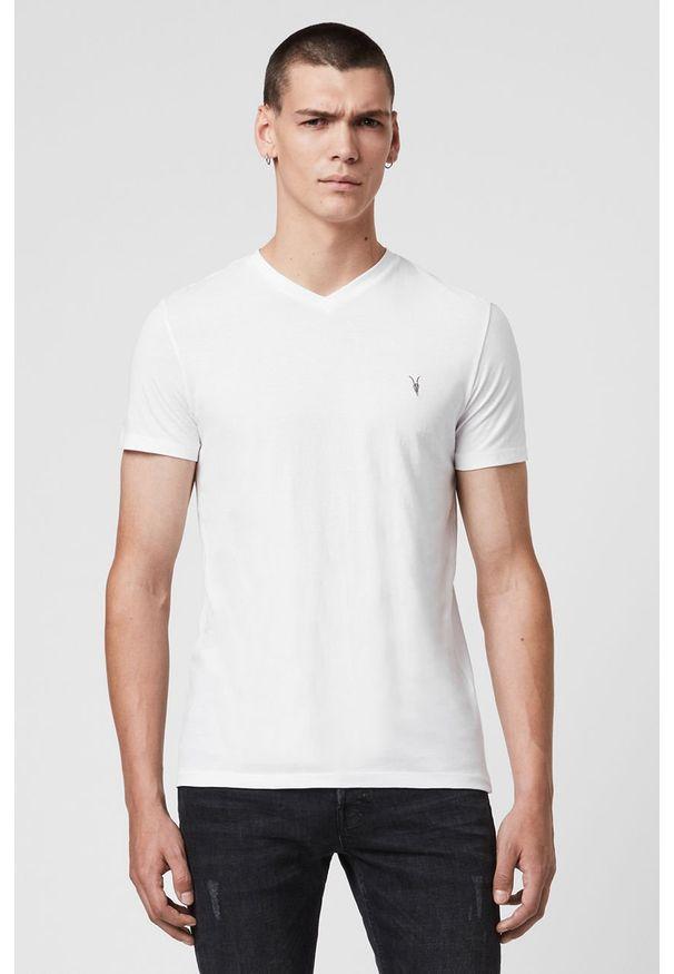 Biały t-shirt AllSaints z aplikacjami, casualowy