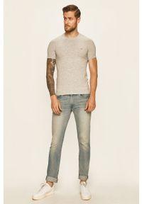 Szary t-shirt Guess Jeans z okrągłym kołnierzem, z aplikacjami, casualowy, na co dzień