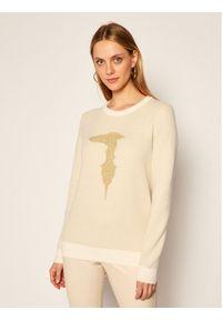 Beżowy sweter klasyczny Trussardi Jeans