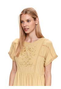 Żółta sukienka TOP SECRET koszulowa, w kwiaty