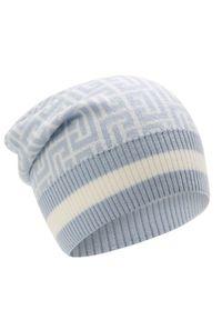 Balmain - BALMAIN - Wełniana czapka z monogramem. Kolor: niebieski. Materiał: wełna. Sezon: jesień, zima