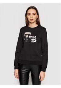 Karl Lagerfeld - KARL LAGERFELD Bluza Ikonik&Choupette 210W1821 Czarny Regular Fit. Typ kołnierza: dekolt w karo. Kolor: czarny