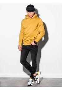 Ombre Clothing - Bluza męska z kapturem B1079 - żółta - XXL. Typ kołnierza: kaptur. Kolor: żółty. Materiał: poliester, bawełna