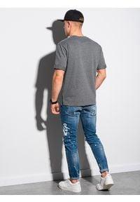 Ombre Clothing - T-shirt męski bez nadruku S1371 - czarny - XXL. Kolor: czarny. Materiał: dzianina, bawełna, poliester