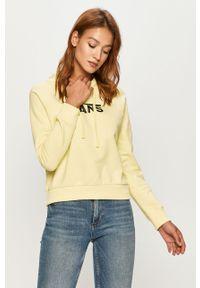 Żółta bluza Vans z nadrukiem, długa, z kapturem, casualowa
