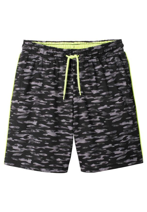 Czarne spodnie bonprix z nadrukiem, sportowe, krótkie