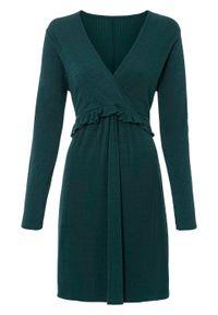Sukienka w prążek bonprix ciemnozielony. Kolor: zielony. Wzór: prążki