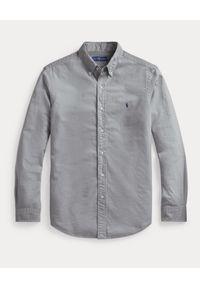 Ralph Lauren - RALPH LAUREN - Szara koszula Oxford Custom Fit. Typ kołnierza: button down, polo. Kolor: szary. Materiał: bawełna. Długość rękawa: długi rękaw. Długość: długie. Wzór: haft. Styl: klasyczny