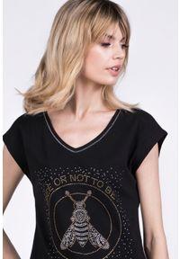 Czarny t-shirt Monnari casualowy, na co dzień, na lato, z dekoltem w serek