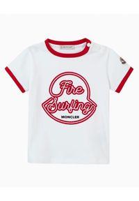 MONCLER KIDS - Koszulka z graficznym nadrukiem 0-3 lat. Kolor: biały. Materiał: bawełna. Wzór: nadruk. Sezon: lato