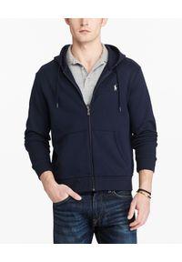 Ralph Lauren - RALPH LAUREN - Granatowa bluza z kapturem. Typ kołnierza: kaptur. Kolor: niebieski. Materiał: poliester, materiał, bawełna. Długość: długie. Wzór: haft, aplikacja. Styl: klasyczny