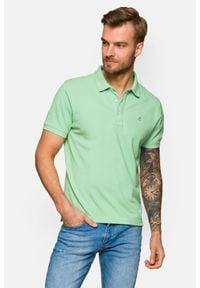 Lancerto - Koszulka Pistacjowa Polo Patrick. Typ kołnierza: polo. Kolor: zielony. Materiał: tkanina, włókno, bawełna, materiał. Wzór: gładki, ze splotem. Sezon: lato, wiosna. Styl: klasyczny