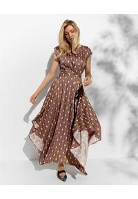 Brązowa sukienka asymetryczna, w paski