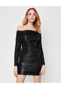 ALEXANDRE VAUTHIER - Czarna sukienka ze zdobieniami. Kolor: czarny. Materiał: wiskoza. Wzór: aplikacja. Typ sukienki: dopasowane, z odkrytymi ramionami. Długość: mini
