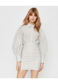ISABEL MARANT - Sukienka w kratkę Filanua. Kolor: beżowy. Materiał: bawełna, jedwab, materiał, zamsz. Wzór: kratka. Sezon: lato. Typ sukienki: dopasowane. Długość: mini