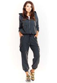 Infinite You - Grafitowe Dresowe Spodnie z Kieszeniami Typu Cargo. Kolor: szary. Materiał: dresówka