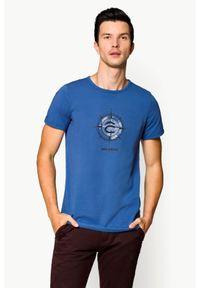 Niebieski t-shirt Lancerto klasyczny, na co dzień, z nadrukiem