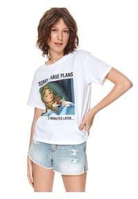 TOP SECRET - T-shirt z nadrukiem disney. Kolor: biały. Materiał: tkanina, bawełna. Długość rękawa: krótki rękaw. Długość: krótkie. Wzór: nadruk, motyw z bajki. Sezon: lato. Styl: wakacyjny