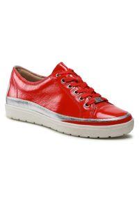 Czerwone sneakersy Caprice z cholewką, na co dzień