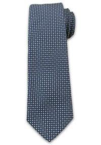 Wyrazisty Krawat Męski w Drobny Wzór, Kwadraciki, Chattier, Granatowo-Niebieski. Kolor: niebieski. Materiał: tkanina. Styl: wizytowy, elegancki