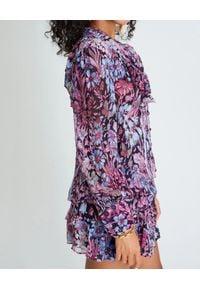 LOVE SHACK FANCY - Bluzka w kwiaty Beatrix. Typ kołnierza: kołnierz z falbankami. Kolor: fioletowy, różowy, wielokolorowy. Materiał: wiskoza, jeans. Długość rękawa: długi rękaw. Długość: długie. Wzór: kwiaty. Styl: klasyczny, elegancki