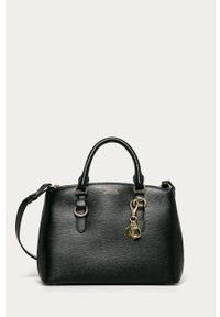 Czarna shopperka Lauren Ralph Lauren na ramię