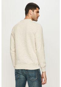 Kremowa bluza nierozpinana Jack & Jones casualowa, bez kaptura, z nadrukiem, na co dzień