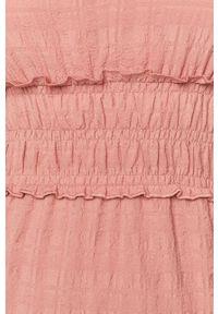 Różowa sukienka Vila mini, gładkie, rozkloszowana, z krótkim rękawem
