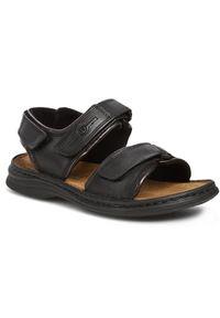 Czarne sandały Josef Seibel na co dzień, na rzepy, casualowe
