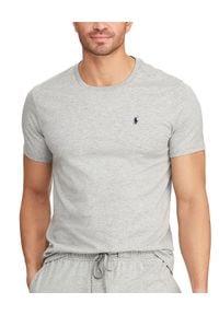 Ralph Lauren - RALPH LAUREN - Szary t-shirt z bawełny. Typ kołnierza: polo. Kolor: szary. Materiał: bawełna. Wzór: haft. Styl: sportowy, klasyczny