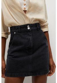 mango - Mango - Spódnica jeansowa Marion. Okazja: na co dzień. Kolor: szary. Materiał: jeans. Styl: casual