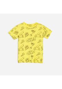 Żółty t-shirt Reserved z nadrukiem