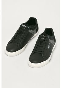 Czarne sneakersy Pepe Jeans na sznurówki, z okrągłym noskiem
