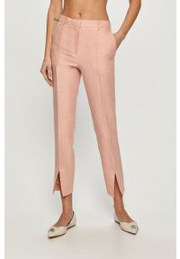 Różowe spodnie materiałowe casualowe, na co dzień, gładkie