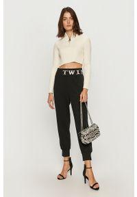 Czarne spodnie dresowe TwinSet z aplikacjami