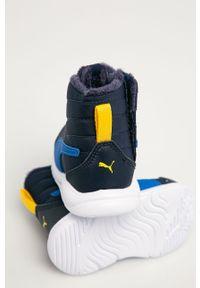 Niebieskie buty zimowe Puma z cholewką, na zimę, na sznurówki