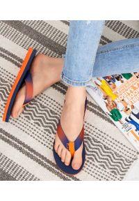 LANO - Japonki damskie Lano KL-3-2686 Granatowe. Okazja: na plażę. Kolor: niebieski. Materiał: tkanina, tworzywo sztuczne. Obcas: na obcasie. Wysokość obcasa: niski