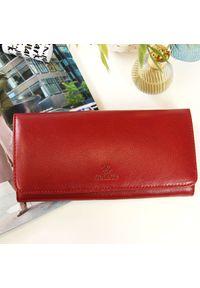 Krenig - Portfel skórzany damski KRENIG Classic 12026 czerwony w pudełku. Kolor: czerwony. Materiał: skóra