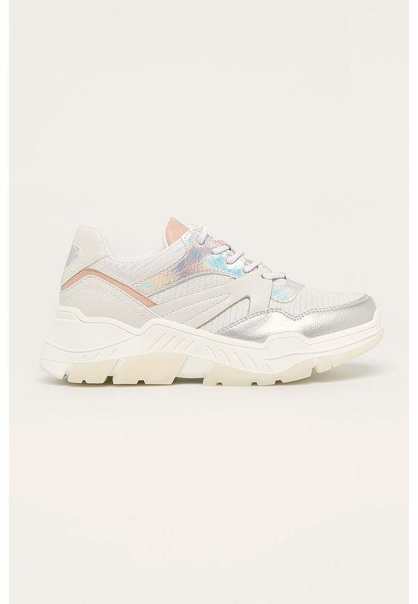 Srebrne buty sportowe Call It Spring z okrągłym noskiem, z cholewką, na sznurówki