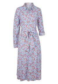 Sukienka przyjazna dla środowiska, EcoVero™ bonprix niebieski z nadrukiem. Kolor: niebieski. Wzór: nadruk