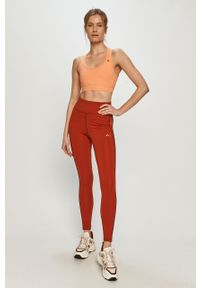 Czerwone legginsy Only Play gładkie, z podwyższonym stanem