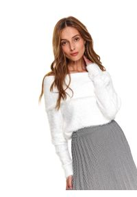 Biały sweter TOP SECRET długi, z golfem