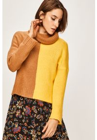 Żółty sweter ANSWEAR na co dzień, z golfem, casualowy