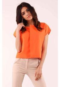 Nommo - Pomarańczowa Pudełkowa Bluzka z Krytym Zapięciem. Kolor: pomarańczowy. Materiał: wiskoza, poliester